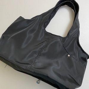 Black nylon bag holds everything you need